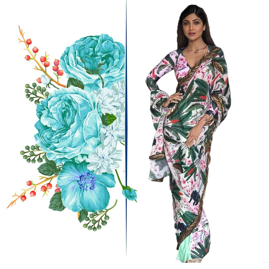 Shilpa Shetty in Shivan and Narresh printed saree