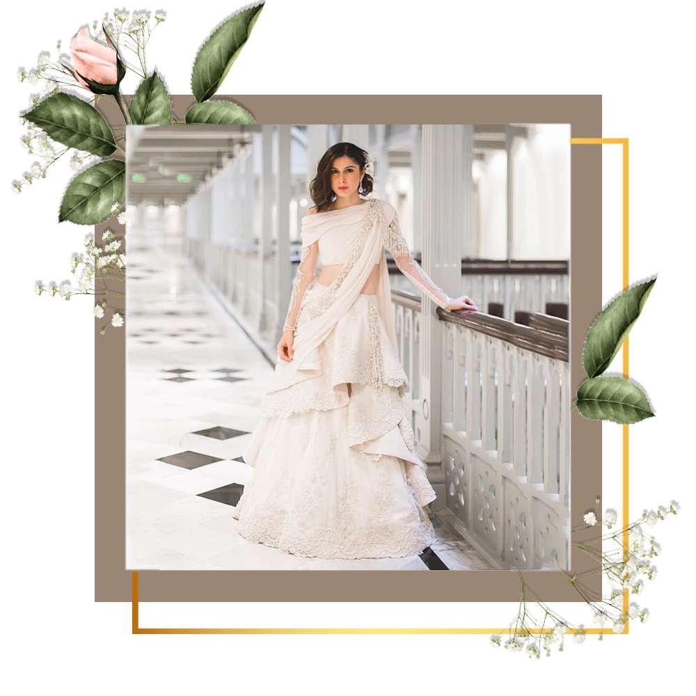 Sherry Shroff white Lehenga Sari
