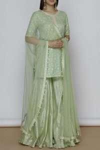 Chanderi Kurta Sharara Set by Kresha Lulla