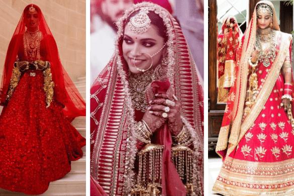 Priyanka, Deepika, Sonam Bridal Red Lehengas