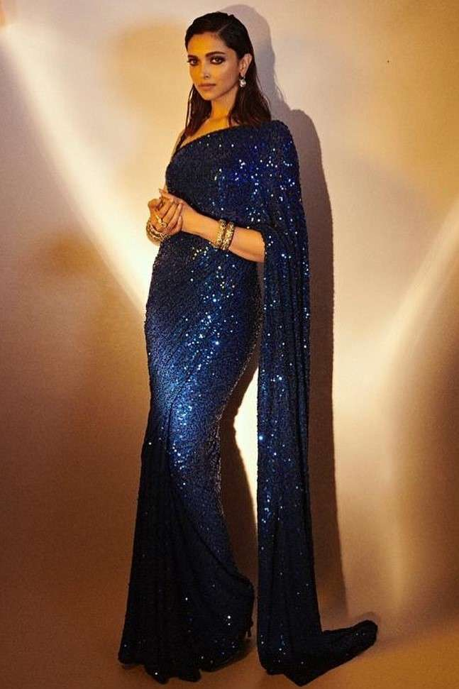 Loved Deepika's Blue Sequin Saree? Here's How to Recreate That Look! - AZA BLOG
