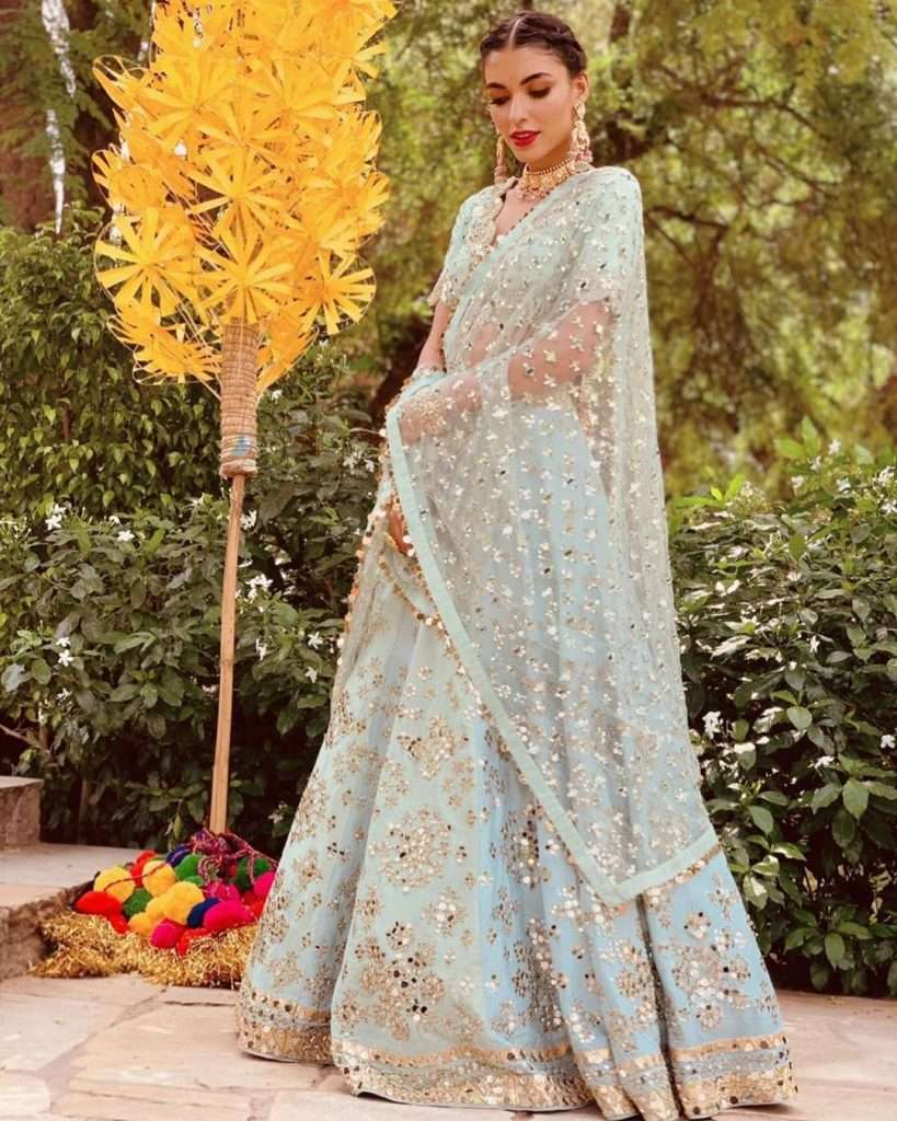 Powder Blue Lehenga By Abhinav Mishra
