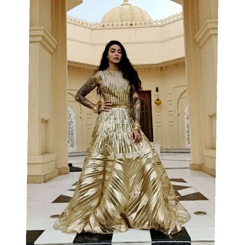 Bani J in Gold Gown By Amit Aggarwal
